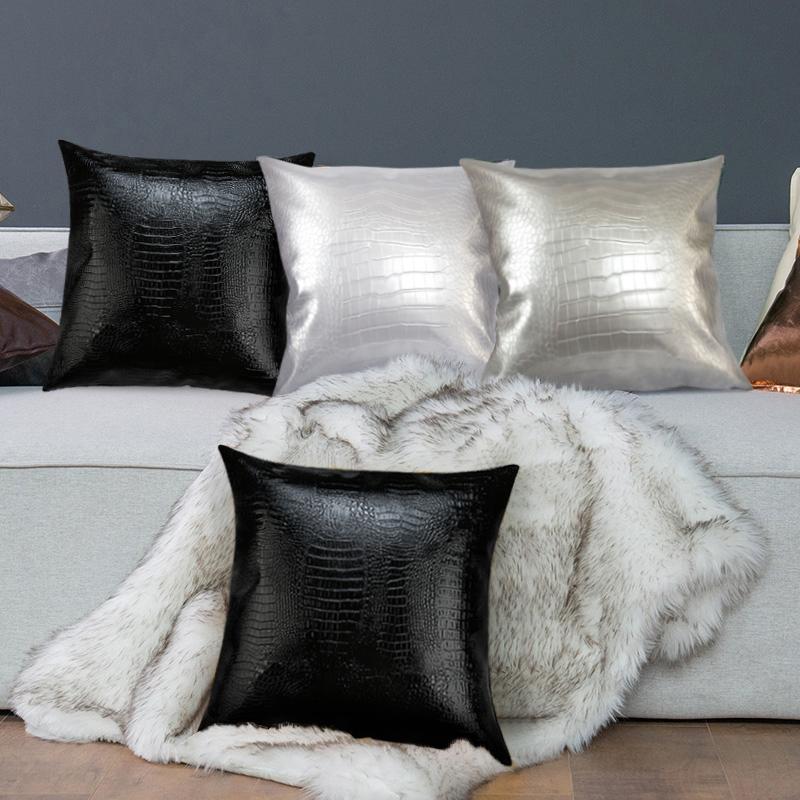 2020 de haute qualité artificielle Faux Croc en cuir durable voiture Sofa Chaise Noir Blanc Gris PU cuir décoratifs pour la maison Coussin