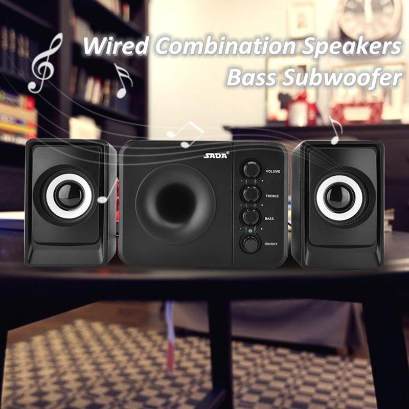 SADA D-205 Mini Bass Speaker USB Проводная Комбинация Компьютер Музыкальный плеер DJ Сабвуфер USB Powered для портативных ПК телефон