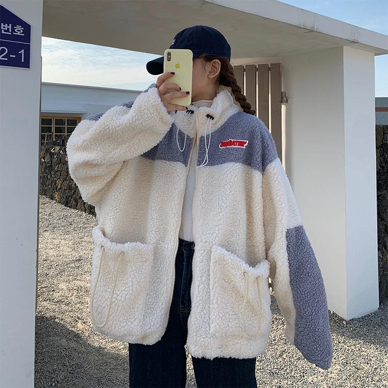 Women's Lambs Fleece Hoodie Plush Coat Women's Thickened Fashion Dressing Student Clothes Design With Higher Color Anti-Wind T200914