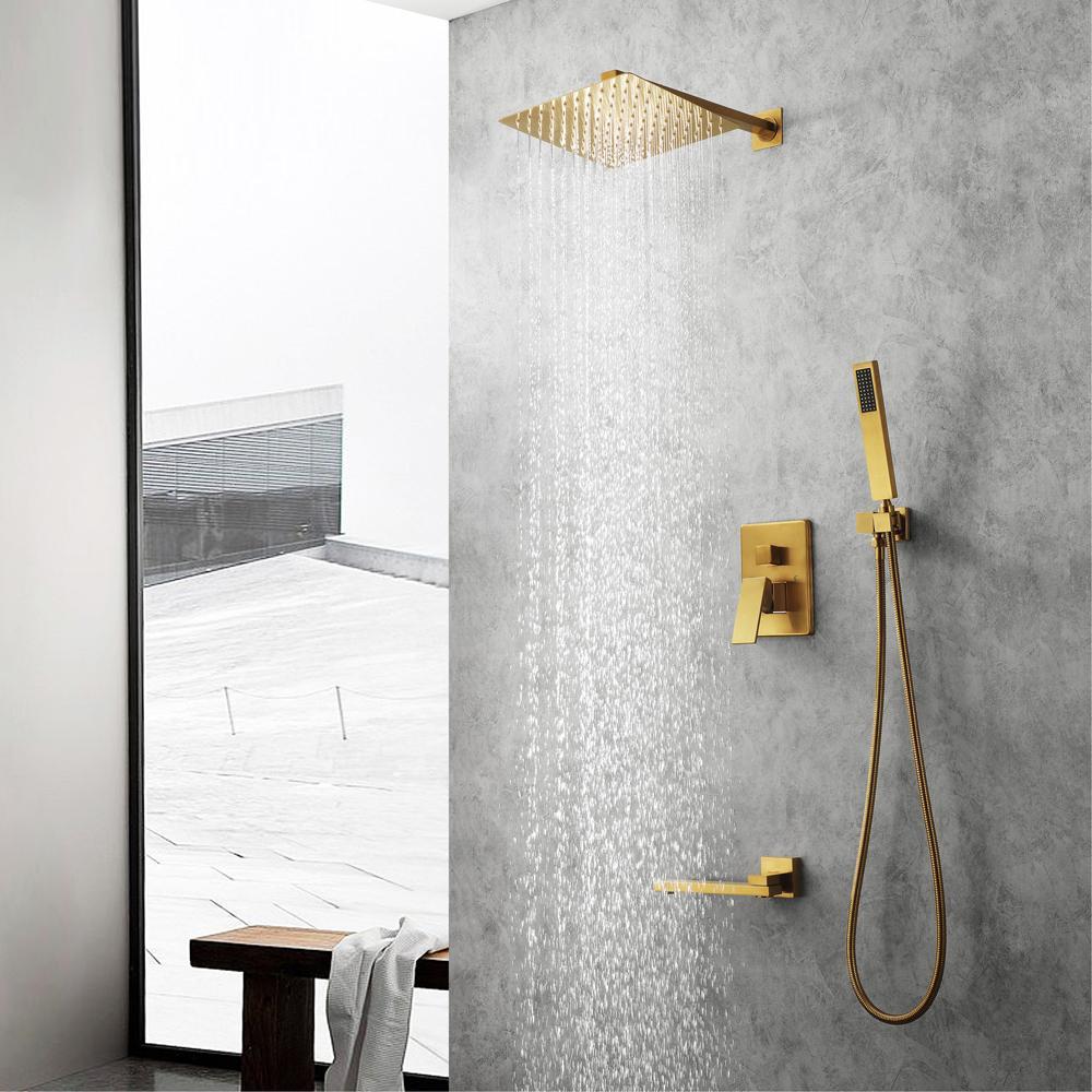 황동 샤워 밸브와 닦았 골드 컬러 샤워 세트 강수량있는 샤워기을 (304) 스테인레스 스틸 초박형 샤워 시스템