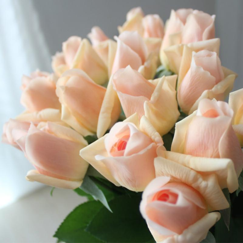 7 flores rosas artificiales Pcs tacto verdadero Branch Stem látex Rose sensación de la mano decoración del fieltro fiesta de la boda Inicio Flores Rose