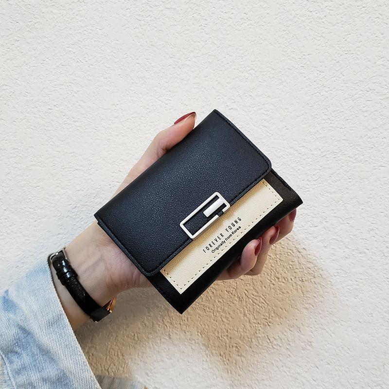2020 Designer des neuen koreanischen Stil Quadrat kleine Mappe Frauen kurze faltbar einfache Art und Weise Damen Kartenbeutel Mini Geldbörse das Dreifache