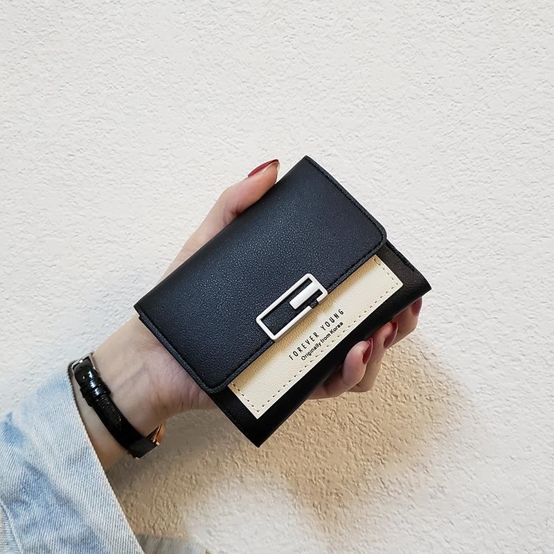 Nuevo Plegable 2020 Tres Estilo Diseñador Billetera Pequeña Moda Cuadrado Corto Simple Mujeres Damas Tarjeta Mini Monedero Monedero Bag Doble MFHVT