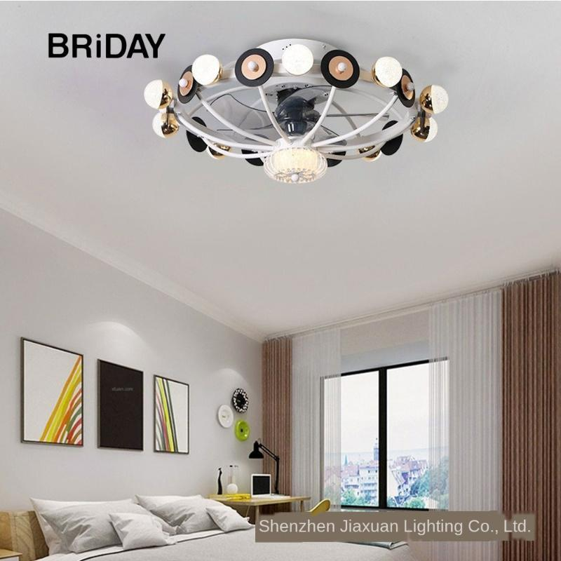 Ventilatori elettrici Modern LED Ventilatore a soffitto con luci Telecomando Lampada ventilatore Lampada silenziosa camera da letto camera da letto decorazione fiore