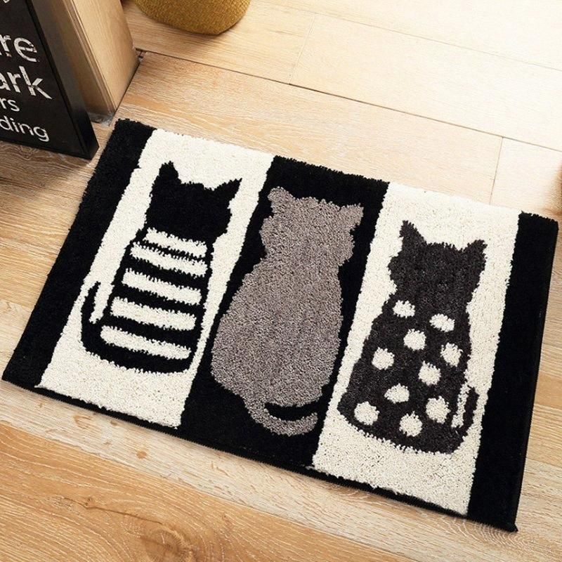 Stylish Cute Home Black And White Cats Feet Convenience Area Rug Room Carpet Floor Mats Bedroom Bathroom Door Mat Shag Rugs Replace Ca IKwy#