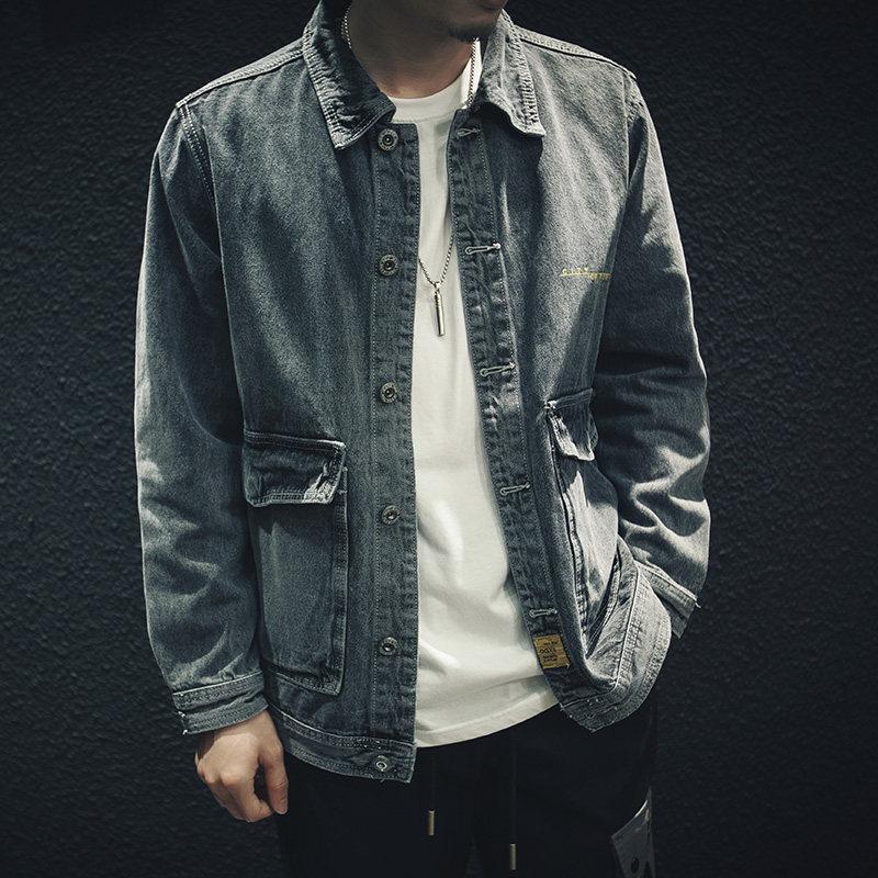 Autunno della molla 2020 adolescenti moda retrò giacca di jeans utensili hombre maschio allentata coreana Giacca di jeans uomini vestiti