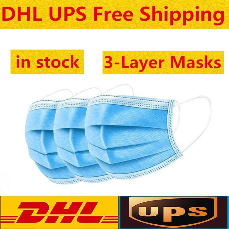 DHL liberan mascarillas desechables Face gruesas máscaras de 3 capas con Earloops para el salón, uso del hogar cómodo en la máscara Stock