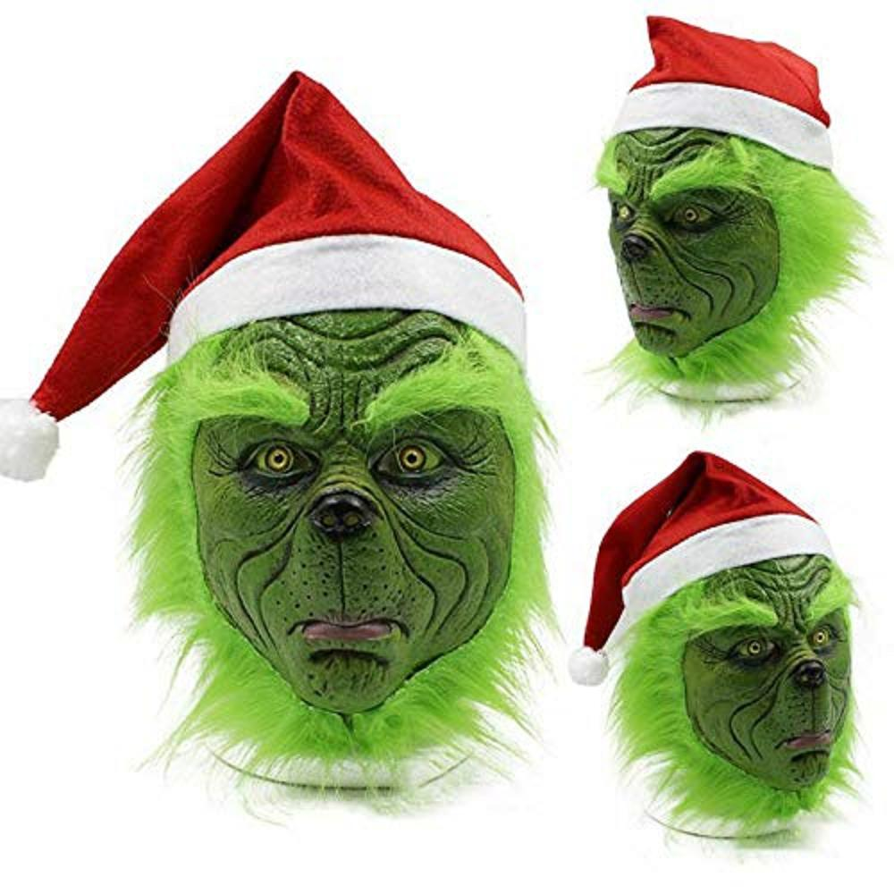 Grinch Mask, Santa Hat Christmas Costume Props Scary Latex Mask Green Latex Full Head Mask Cosplay Costume Accessories for Adult Fancy Dress