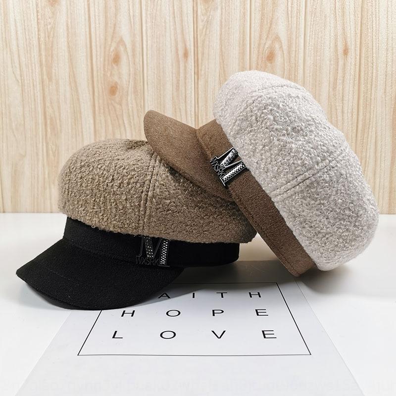 Outono boina lr69e Moda de pelúcia M-padrão e inverno engrossar quente quente Painter octagonal chapéu octagonal doce pa bonito japonês e coreano