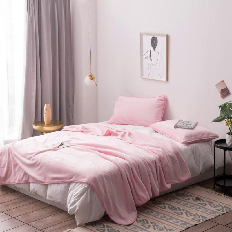 Solid Color Soft Warm фланель Толстые Blanket Подходит для Весна Осень Зима Лист Покрывало Бросьте Одеяла для кроватей Диван Автомобиль