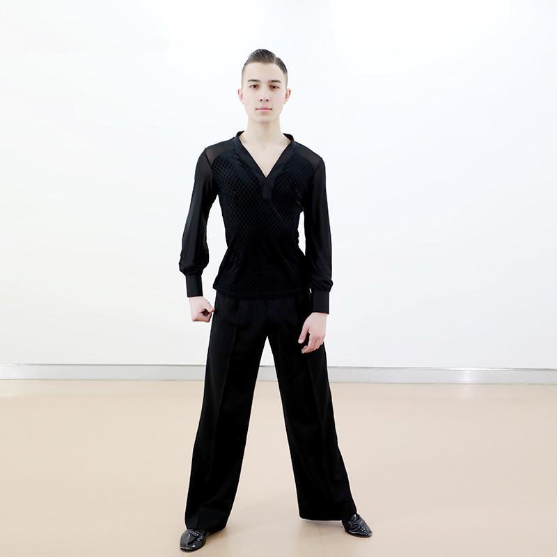المرحلة ارتداء المهنية الرجال الرقص قمم الرقص اللاتينية زي المخملية الحنفية أداء أسود قميص الذكور ممارسة الملابس VDB2188
