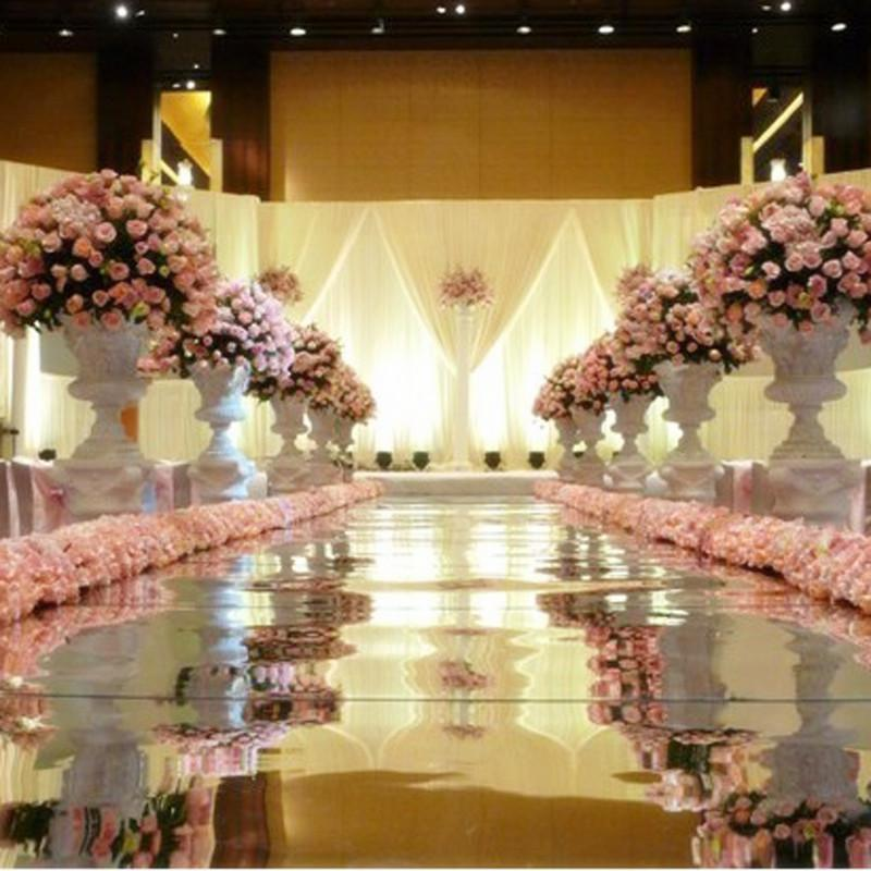 10m por lote 1m de largura brilhar espelho de prata Tapete Aisle Runner Para Romantic Wedding Favors Decoração Partido frete grátis
