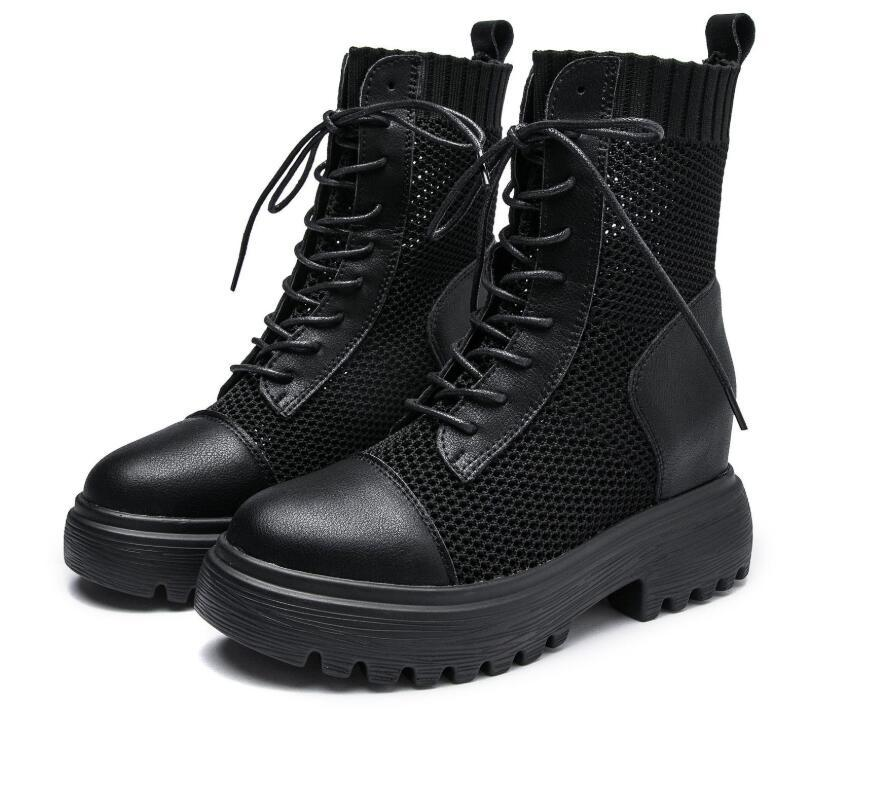 Inner heighten martins thin summer breathable hollowed-out mesh boots thick sole elastic ankle European and American holiday