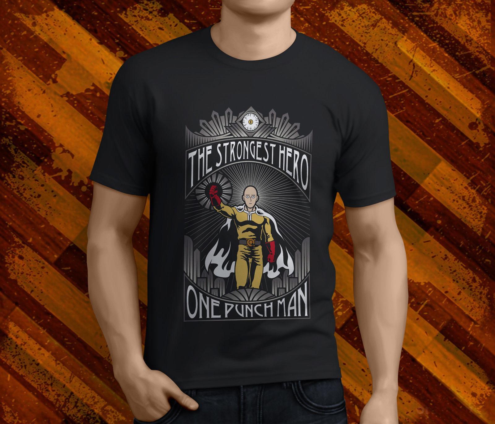 Новые Популярные Один Удар Man Панч Mens Black T-Shirt S-3XL 100% хлопок футболки Марка одежда Топы Тис O-образным вырезом Стильная