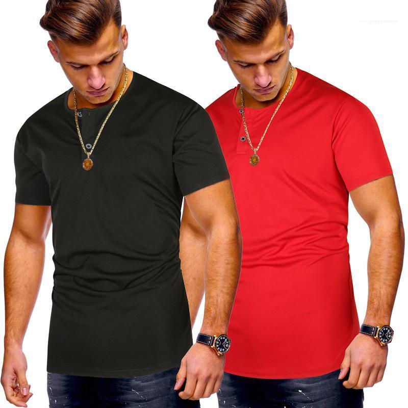 per la Mens Mens Designer magliette casual girocollo con bottone Mens Tees Natural Color Slim manica corta