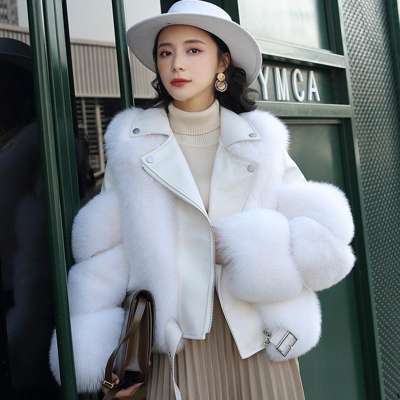 2020 럭셔리 짧은 겨울 자켓 여성 진짜 여우 모피 코트 100 % 정품 양피 가죽 재킷이 두꺼워 따뜻한 스트리트 착실히 보내다 T200909