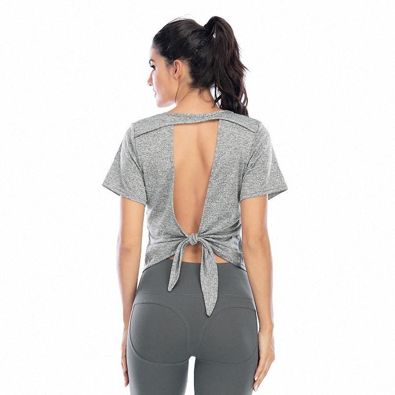 New Style respirável Yoga Exercício SUPERIOR shirt para mulheres Voltar Tethered manga curta Top Curto Feminino Workout Tanque uAsY #