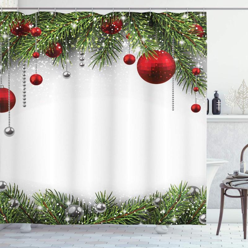 Tenda della doccia di Natale, stagione di festa fondale con foglie di pino classico della sfera di stampa di disegno, panno del tessuto di Bagno Decor Set