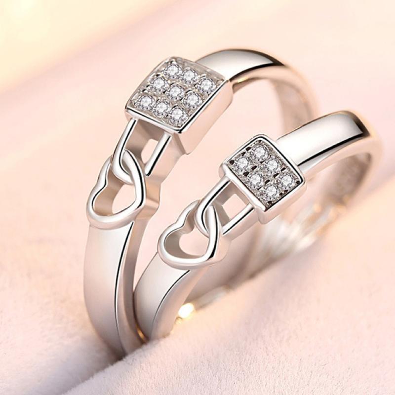 2Pcs / pair ridimensionabile di fidanzamento di nozze di cristallo Love Lock coppia Anello all'ingrosso anello regolabile CZ regalo San Valentino
