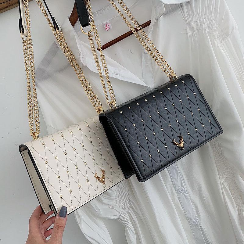 Pu Sacs Crossbody cuir pour les femmes Rivet Chains épaule Messenger Bag Femme Femme Sling main de luxe Sacs à main Designer 200924