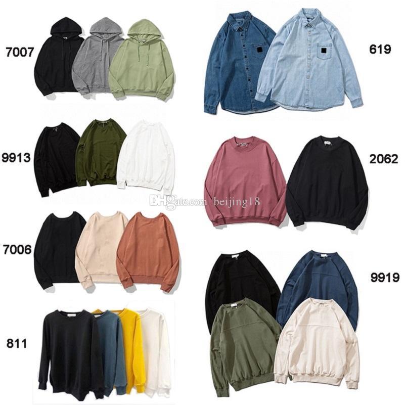 Yeni Moda Sonbahar Kış Erkek 108 Uzun Kollu Hoodie Hip Hop Tişörtü Coat Jeans Casual Gömlek 619/811/8815/2062/7006/9913