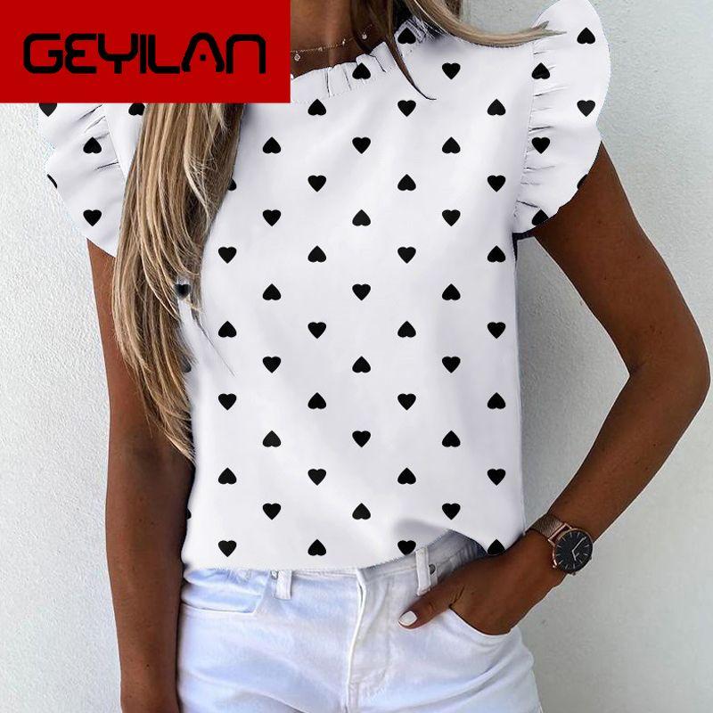 Women Elegant Pineapple Striped Print Ruffle blouse shirts Office Lady New Summer Short Sleeve Slim Blouses Casual O-neck tops