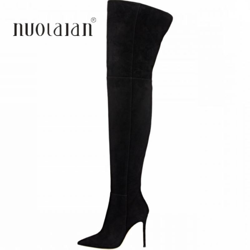 Las mujeres sobre la rodilla atractivo de los cargadores de alta del muslo botas de tacón alto Zapatos 2020 señoras del otoño invierno Moda 10.5CM invierno de la mujer