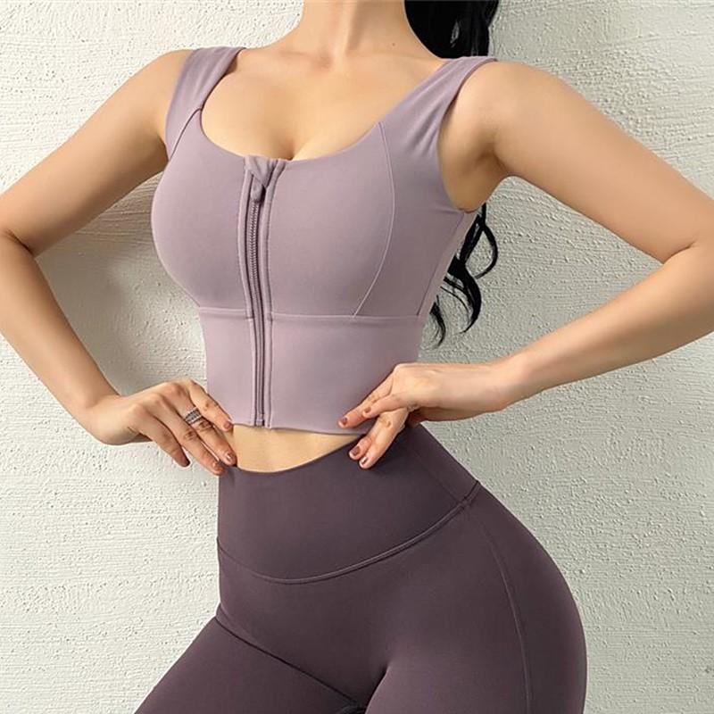 Sexy Zipper Sport Bra Push Up Bra Women Yoga Tops Women Jersey Comfortable Fitness Gym underwear shockproof Jogging Running Tops