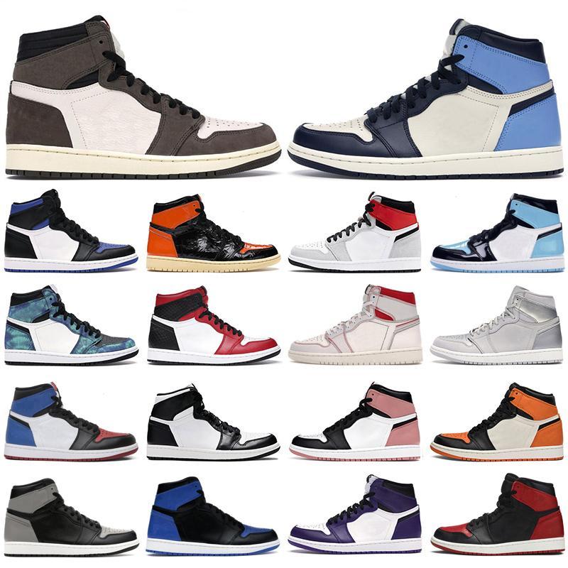 2020 Мужские ботинки баскетбола 1S высокого ог Jumpman 1 Obsidian Royal Toe Dark Mocha Tie Dye Чикаго суд Фиолетовые мужчины женщины тренеры кроссовки