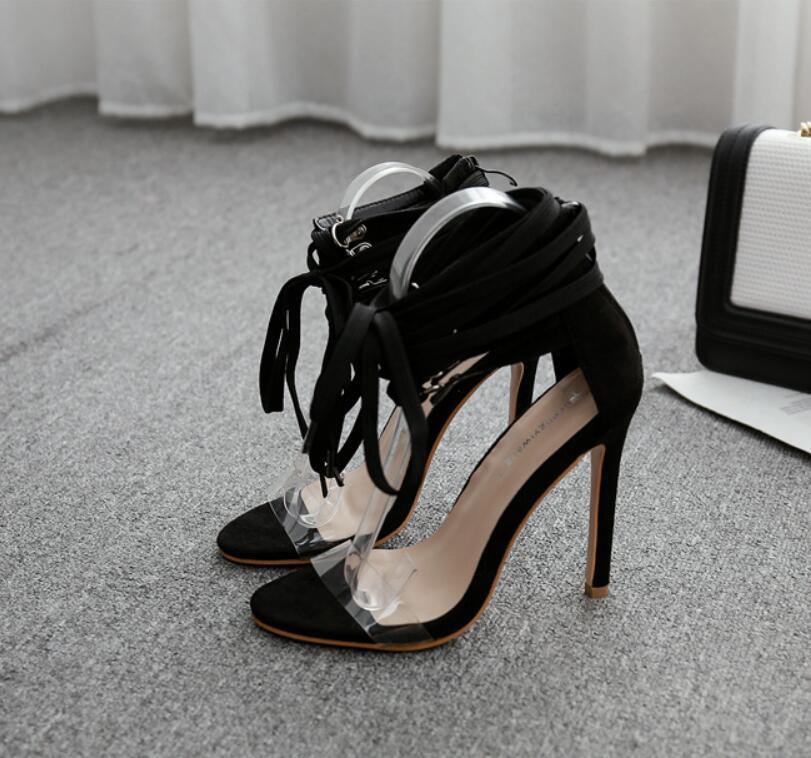 Moda lüks tasarımcı kadın yüksek topuklu Avrupa ve Amerikan sonbahar ve kış yeni seksi stiletto bantlı sandaletler ultra yüksek topuk transpa