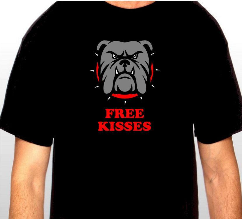 Mens продажа TOP Печать T-Shirt Harajuku с коротким рукавом Мужчины Лучшие бесплатные поцелуи Бульдог ребенка футболки Printed T-Shirt 2019 Fashion Brand