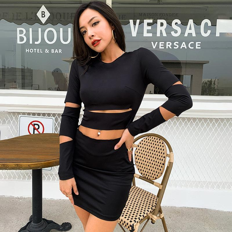 Сексуальные старинные платья жесткие сумки и бедра длинные юбки Женщины с длинными рукавами и выдолбленные тонкие платья Trend Элегантная мода повседневная юбка