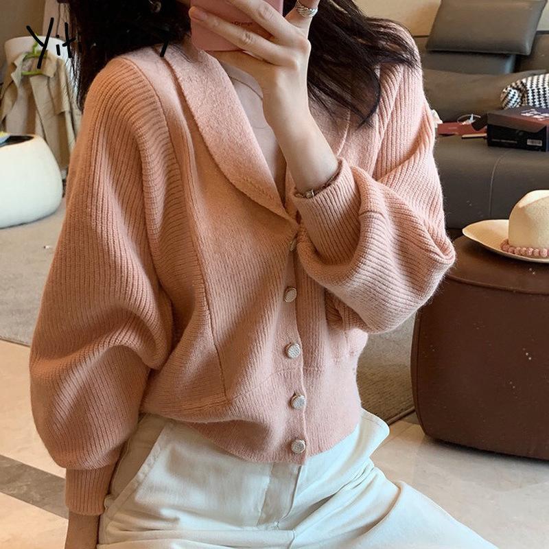 yitimoky para mujer botón sólido de las mujeres chaqueta de punto suéteres de punto para mujer de época suéteres 2020 de otoño e invierno las mujeres chaqueta de punto suave