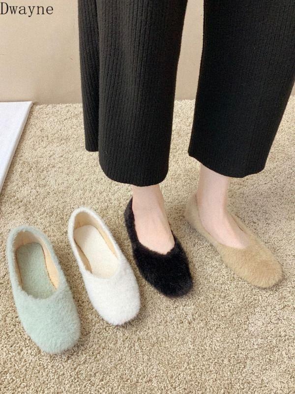 Weiblich Winter tragen 2020 neue flache Unterseite Herbst und Winter-Modelle Net Rot Einzel Schuhe Lamb Haar-flaches Beanie-faule Schuhe Loafers für Männer 920Z #