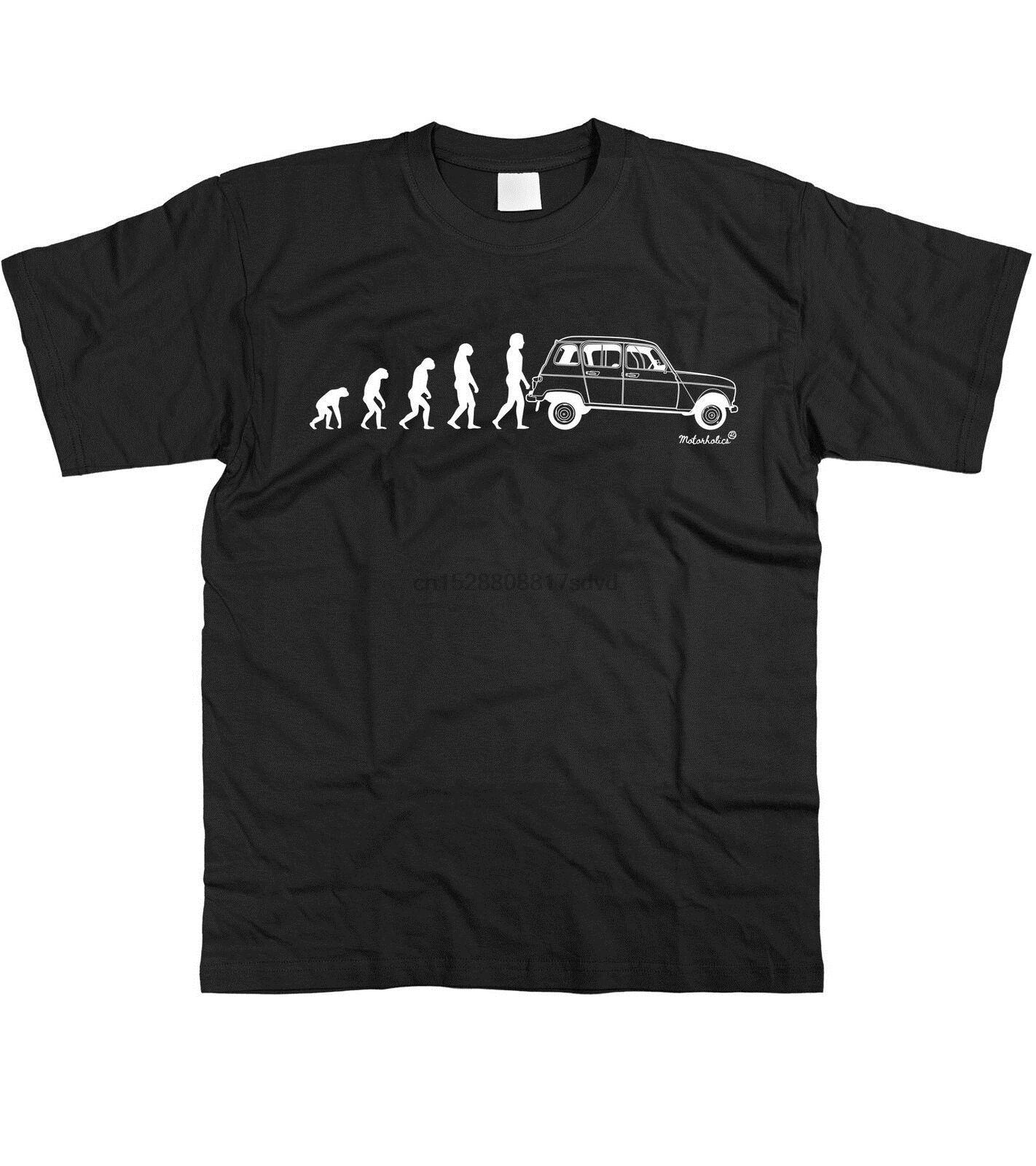 Motorholics Mens Evolution of Man a Renault 4 Classic Francese T-shirt S - a maniche corte 5XL Tee Shirt di trasporto a basso costo Wholesa