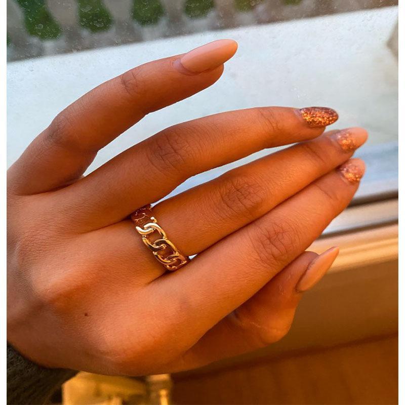Chic Punk Gold Farbe Kette Form Band Ringe Vintage Gothic Chunky Finger Offene Ring für Frauen Männer Antike Schmuck Zubehör Weihnachtsgeschenk