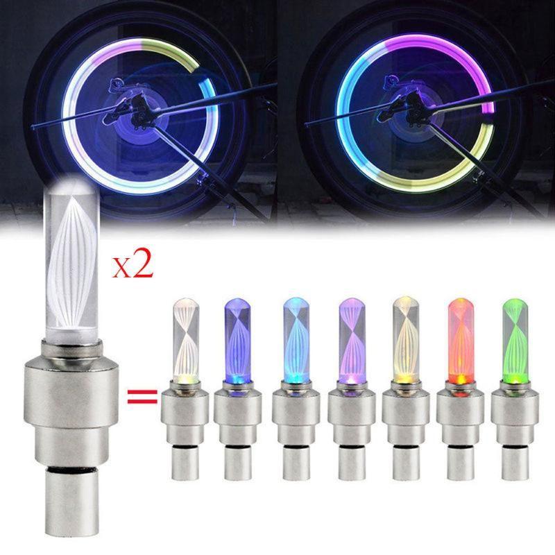 Roue 2pcs Flash Light Bike vélos pneus Cap Spoke Neon Wheel Flash Light Led Lamp gros Nigh # LR2