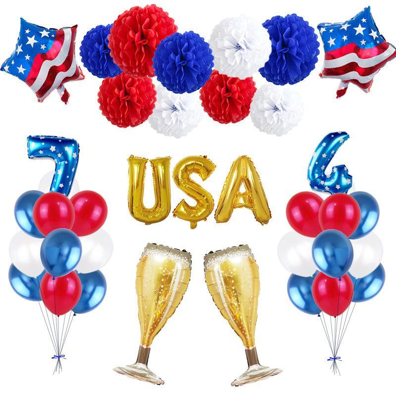 USA Independence Day Foil Palloncino Set Stella Lettera Palloncino a elio lattice rotondo Balloons America del partito di celebrazione Set Decoration VT0259