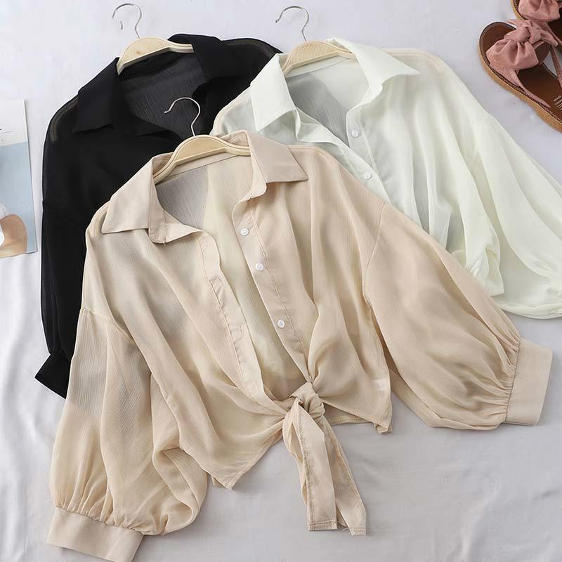 Blusas de las mujeres camisas 1blouse mujeres negro linterna de manga larga gasa verano tops casual blusa atada elegante