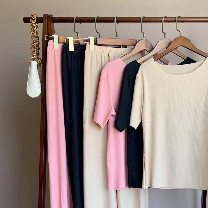 Summer thin Knitting Suit Women Short Sleeve Top Long Wide Leg Pants Two Piece Set