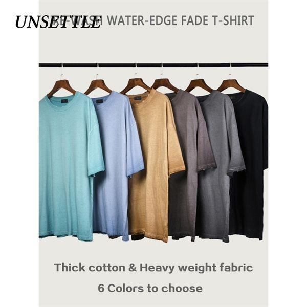 Inquietar pesada tela de alta llanura camiseta granel calle camisetas de la moda de los hombres / mujeres Kanye West básico sobredimensionada camiseta de manga corta de 0921