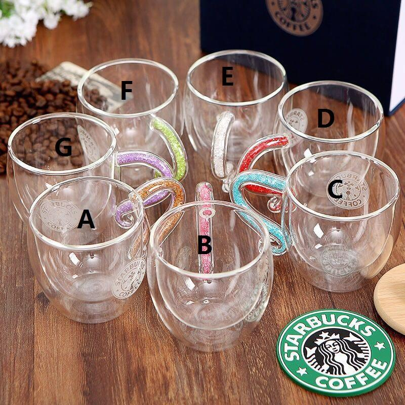 Starbucks Double Layer Mugs Heat-resistant Crystal Glass Transparent Mug with Lid and Spoon Coffee Cup Beautiful Package Box Birthday Gift