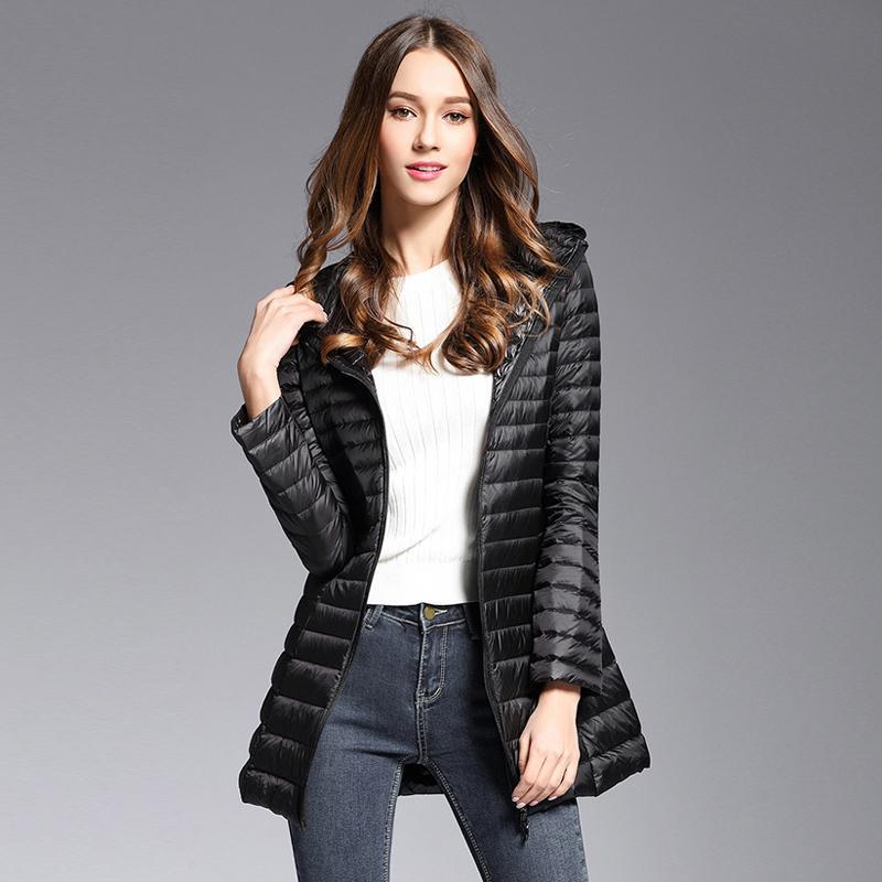 Winter neuer weiße Ente unten Jacken schwarz dünner Daunenmantel Frauen arbeiten mit Kapuze Reißverschluss Medium und langen Abschnitt Coats Weiblich