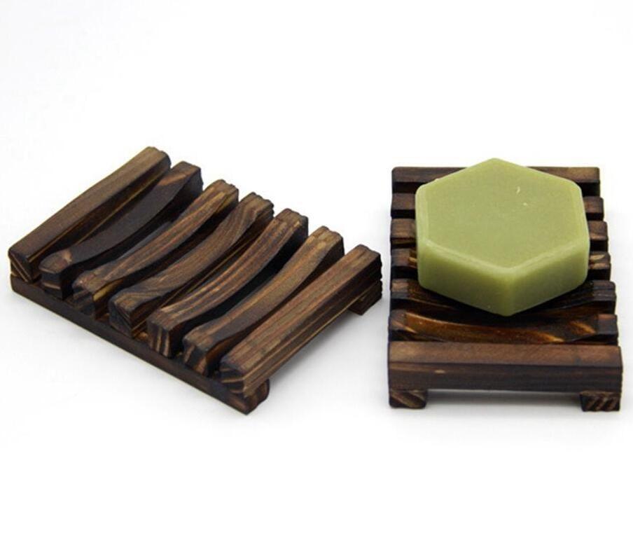 Ahşap Sabunluk Doğal Bambu Ahşap Sabunluklar Karbonlaşmış Ahşap Banyo Raflar Ahşap Kömür Sabunlar Saklama Plakalı Kutusu LSK1149 Raf