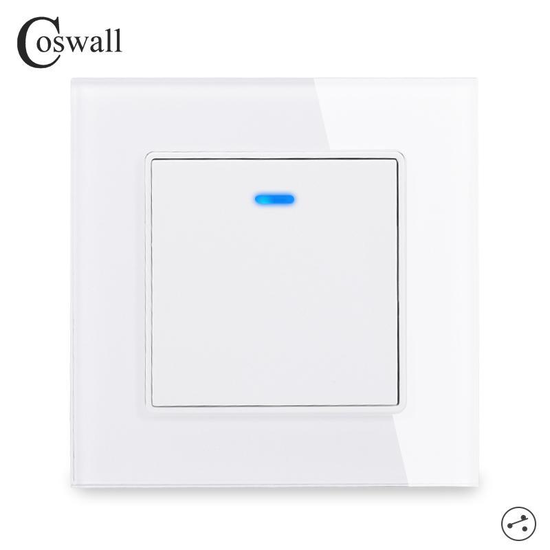 Coswall Kristallglas-Panel 1 Gang 2-Wege-Pass-Through-Lichtschalter On / Off Treppenwandschalter mit LED-Anzeige