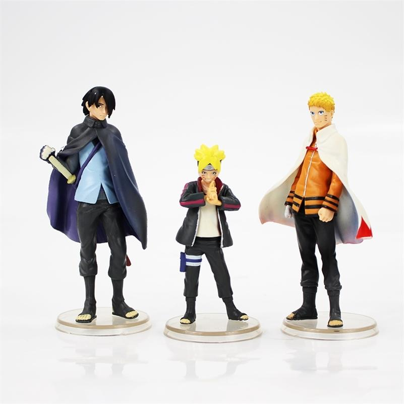 9-12cm 3pcs / lot Next Generations Uzumaki Naruto Boruto Sasuke Uchiha Figurine PVC Action-Figur Sammler Modell Spielzeug Y200811