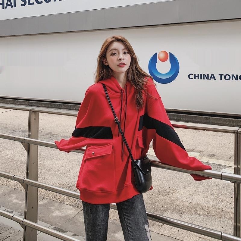 uv9EV ins das mulheres finas primavera Brasão sweatersweater camisola e no Outono moda 2020 casaco solto bf preguiçoso estilo com capuz New MhybQ