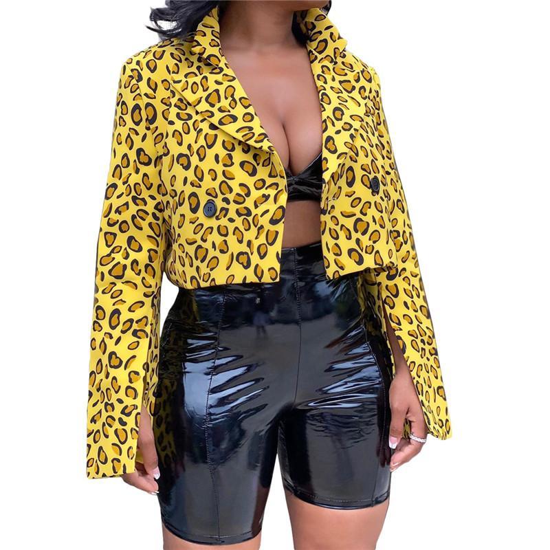 Chaqueta de las mujeres del leopardo de la solapa de la manera del invierno de Split cuello de manga larga botón de nueva capa de la ropa de las mujeres a corto