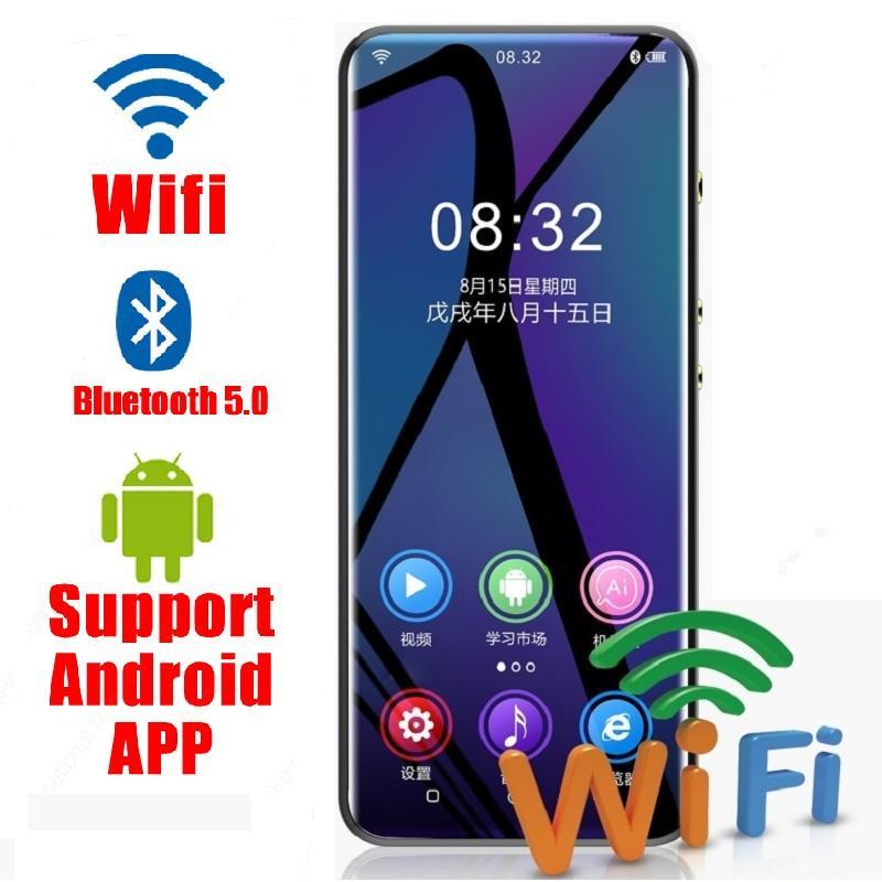 Hoparlör, FM ,, Kaydedici, Video ile 2020 WIFI Android MP3 çalar, Bluetooth 5.0 Dokunmatik Ekran 3.5inç hıfı müzik mp3 çalar