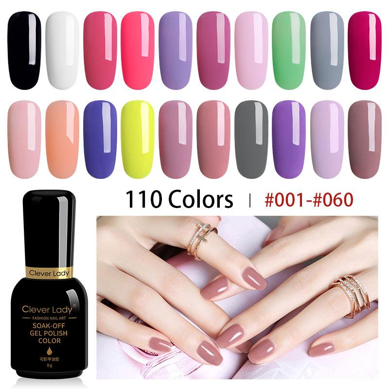 Clever Lady UV Gel Nagellack LED Gellak Esmalte Permanente Hybrid-Nagel-Gel-Lack 110 Farben Polish Set Resin 8 ml (1)